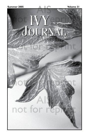 Volume 31 - American Ivy Society