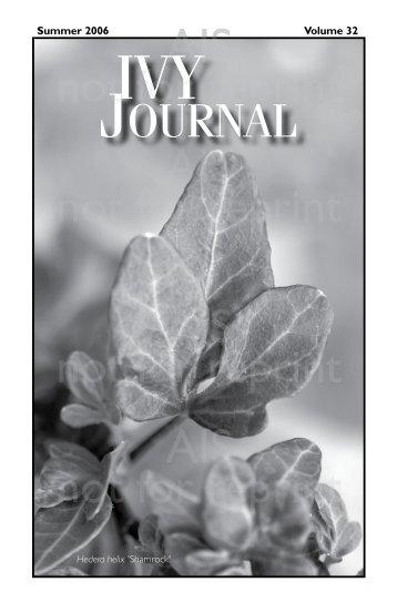 2006 | Volume 32 - American Ivy Society