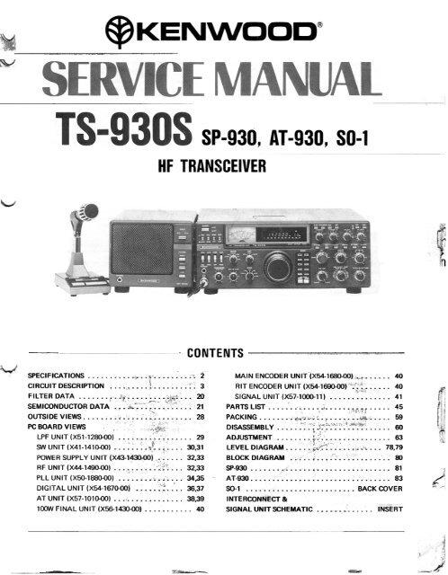 Kenwood - TS-930S Service manual - IW2NMX