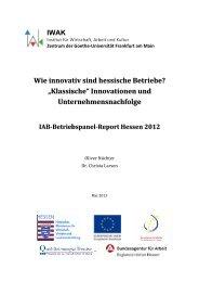 Innovationen und Unternehmensnachfolge - IWAK Frankfurt