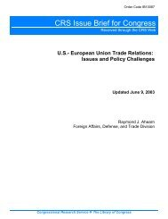 U.S.- European Union Trade Relations: Issues and Policy Challenges