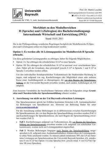 Universität Bayreuth - Internationale Wirtschaft & Entwicklung ...