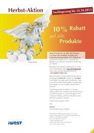 Produkte 10 % Rabatt Herbst-Aktion - iWEST