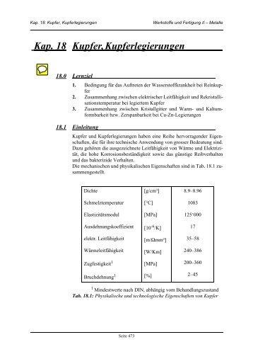 Kap. 18 Kupfer, Kupferlegierungen - IWF