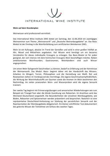Pressemitteilung Weinkenner 12 06 - International Wine Institute
