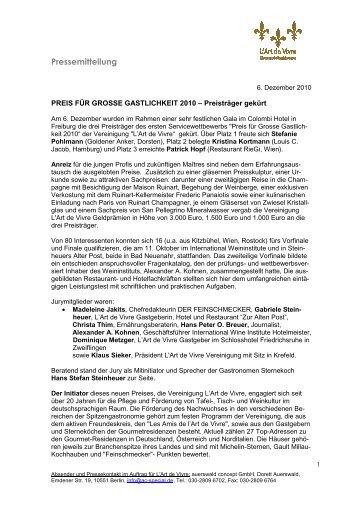 PM Großer Preis der Gastlichkeit - International Wine Institute