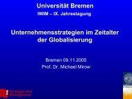 Unternehmensstrategien in der Globalisierung - Universität Bremen