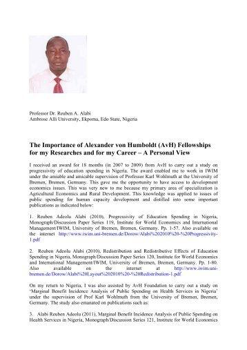 The Importance of Alexander von Humboldt (AvH) Fellowships for ...