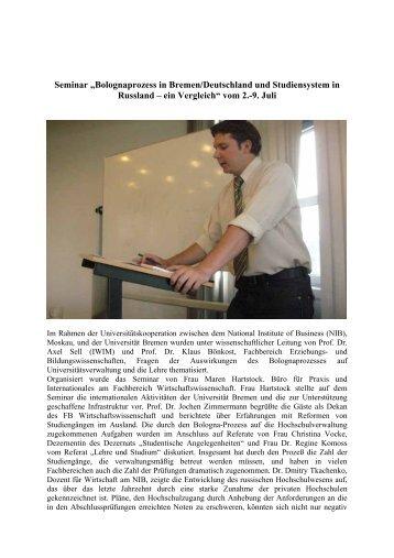 """Seminar """"Bolognaprozess in Bremen/Deutschland und ..."""
