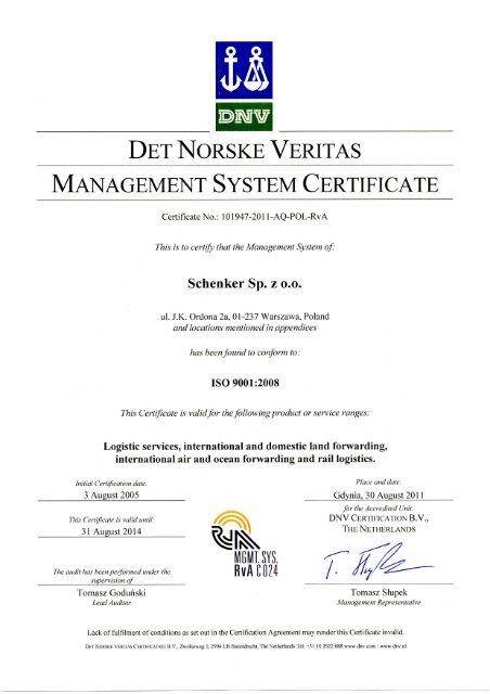 DET NORSKE VERITAS MANAGEMENT SYSTEM     - DB Schenker