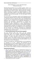 Reformbedarf in der betrieblichen Mitbestimmung - IW
