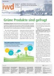 Grüne Produkte sind gefragt - Institut der deutschen Wirtschaft