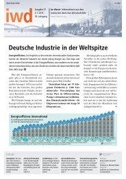 Deutsche Industrie in der Weltspitze - Institut der deutschen Wirtschaft