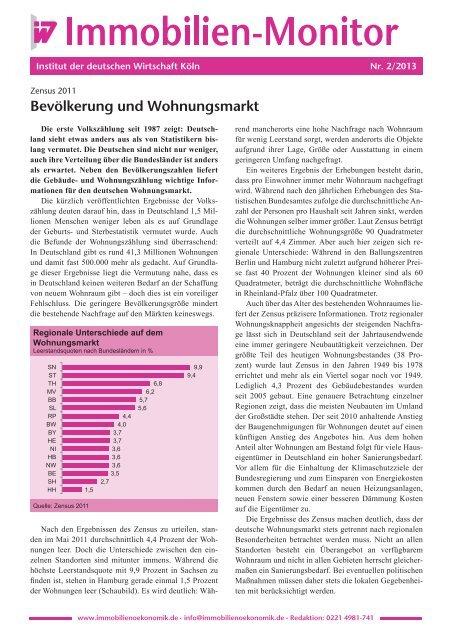 Bevölkerung und Wohnungsmarkt - Institut der deutschen Wirtschaft