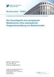 Policy Paper Bankenunion 24-09-2013 - Institut der deutschen ...