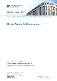 12 gute Gründe für Zuwanderung - Institut der deutschen Wirtschaft
