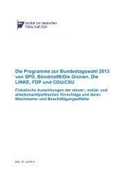Analyse Wahlprogramme 2013 - Institut der deutschen Wirtschaft