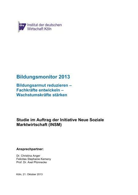 Bildungsmonitor 2013-10-16 - Institut der deutschen Wirtschaft