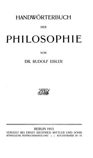 R. Eisler: Handwörterbuch der Philosophie - IWM
