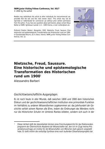 Nietzsche, Freud, Saussure. Eine historische und ... - IWM