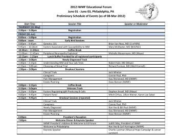 2012 IWMF Educational Forum June 01 - June 03, Philadelphia, PA ...