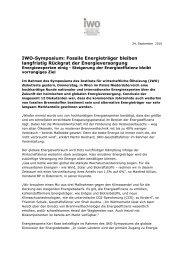 IWO-Symposium: Fossile Energieträger bleiben ... - IWO-Österreich