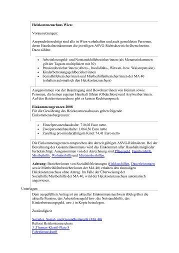 Heizkostenzuschuss Wien: