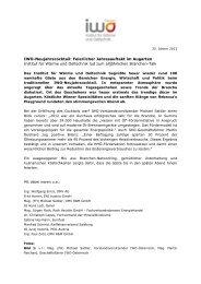 IWO-Neujahrscocktail: Feierlicher Jahresauftakt im ... - IWO-Österreich