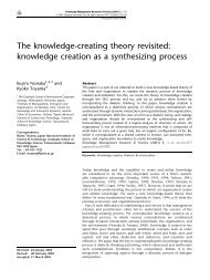 The knowledge-creating theory revisited: knowledge creation as a ...