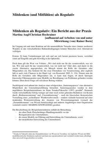 Mitdenken (und Mitfühlen) als Regulativ Mitdenken als Regulativ