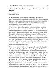 """""""Informed Peer Review"""" – Ausgleich der Fehler und Verzer- rungen?"""