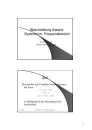 Beschreibung linearer Systeme im Frequenzbereich Ziel - IWR