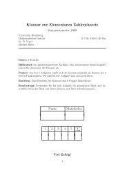 Klausur zur Elementaren Zahlentheorie Name Matrikelnr. 1 2 ... - IWR