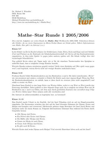 Mathe–Star Runde 1 2005/2006 - IWR