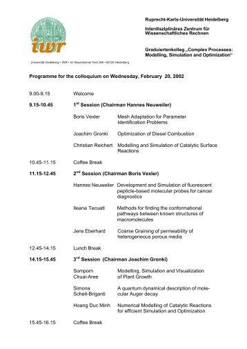 Programme Schedule - IWR - Ruprecht-Karls-Universität Heidelberg