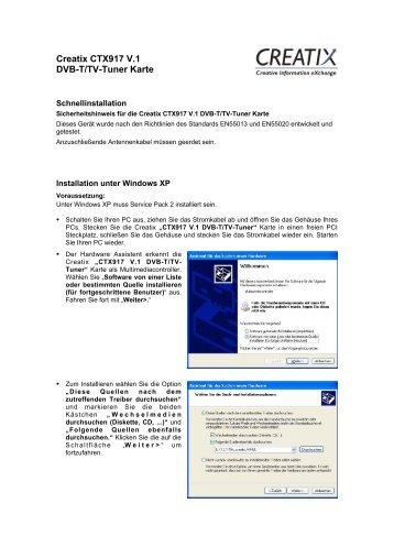 Creatix CTX917 V.1 Dvb-T/Tv-Tuner Karte