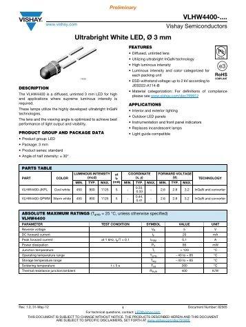 VLHW4400-.... Ultrabright White LED, Ø 3 mm - Elfa