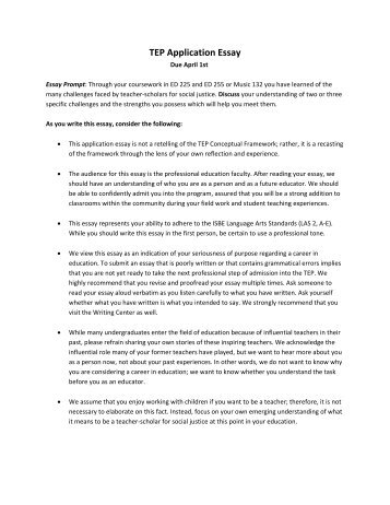 Freshmen Scholars Essay Prompt And Rubric Tep Essay Prompt Amp Instructions