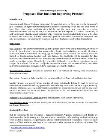Proposed Bias Incident Reporting Protocol - Illinois Wesleyan ...