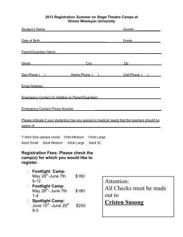 registration form - Illinois Wesleyan University