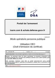 Manuel utilisateur personne publique : Utilisation OEC - Ixarm