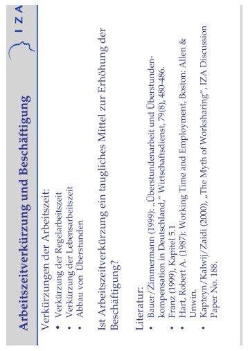 Arbeitszeitverkürzung und BeschäftigungArbeitszeitverkürzung ... - IZA