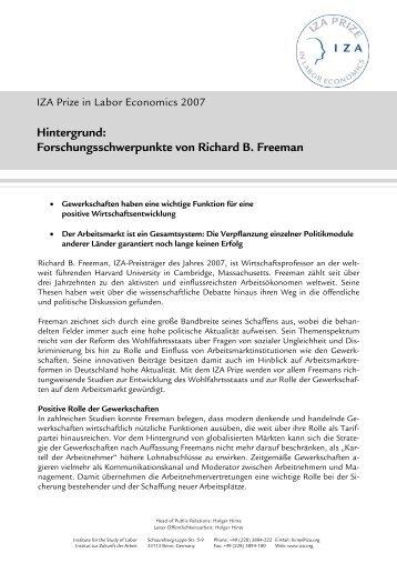 Hintergrund: Forschungsschwerpunāte von Richard B. Freeman - IZA