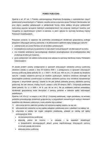 POMOC PUBLICZNA Zgodnie z art. 87 ust. 1 Traktatu ...