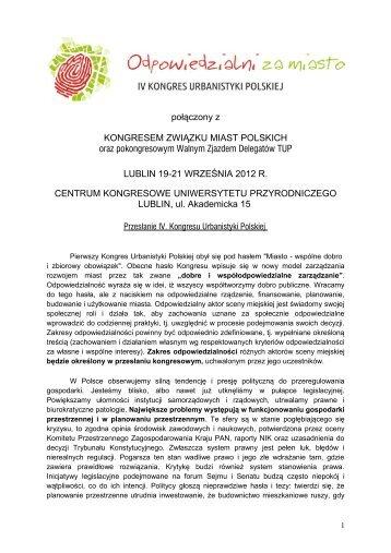 przesłanie IV Kongresu Urbanistyki PolskiejTM14 - Krajowa Izba ...