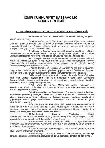 cumhuriyet savcılarına ait görev bölümü - İzmir Adliyesi - Adalet ...