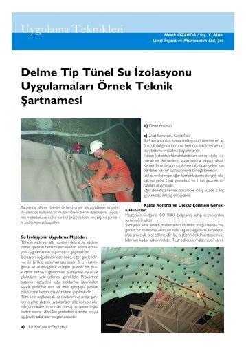 Delme Tip Tünel Su İzolasyon Uygulamaları - İzoder