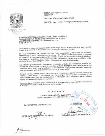 Nuevo formato del comprobante de pago nominal - UNAM