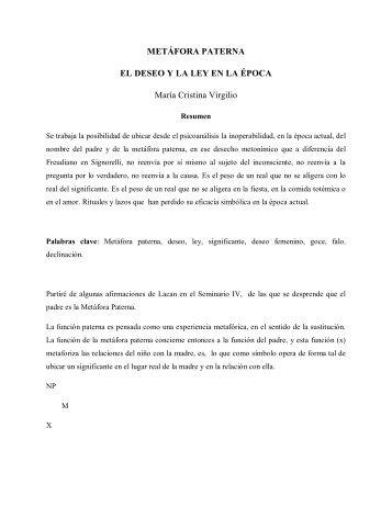 METÁFORA PATERNA EL DESEO Y LA LEY EN LA ÉPOCA María ...