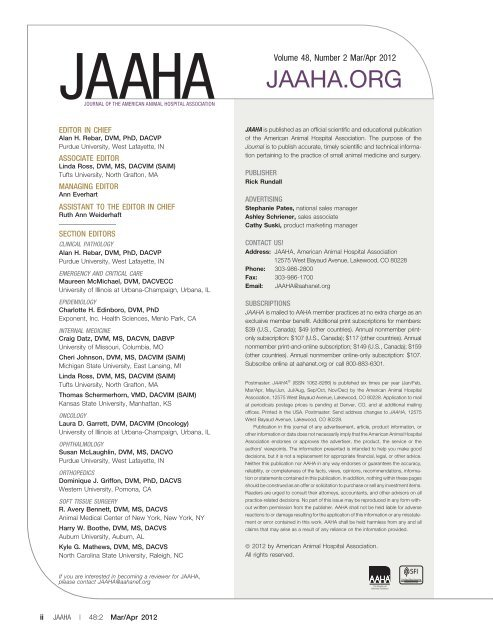 Editorial Board (PDF) - Journal of the American Animal